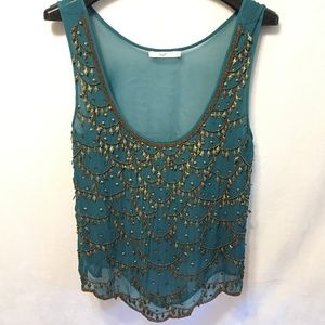 5/$20 HAZEL Size S Teal Metal Embellished Tank Top